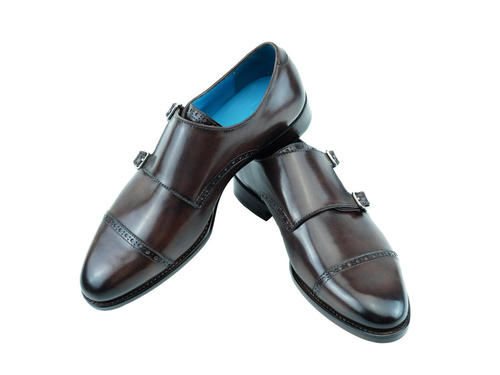 Diplomate monk shoes custom made hand painted patina