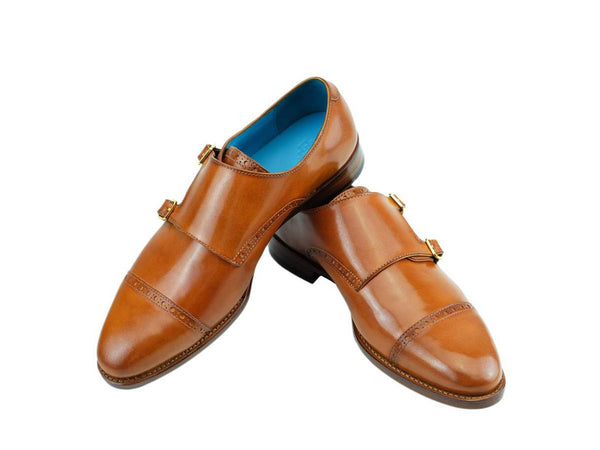 Leather monk shoes in custom made colors