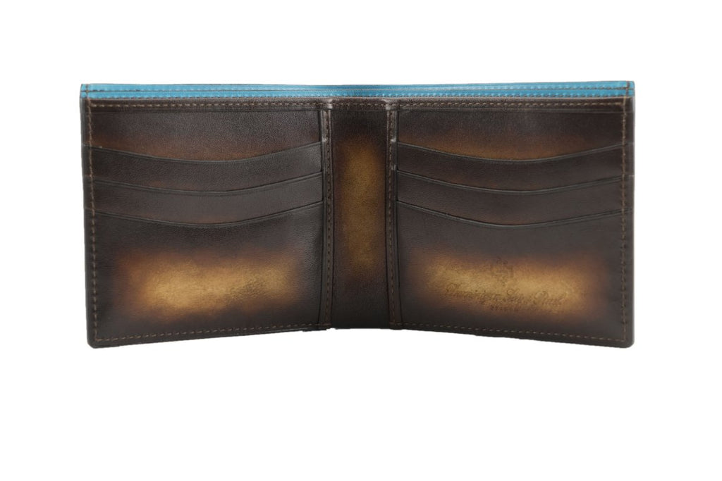 NEW bifold wallet in washed patina Havana and brown