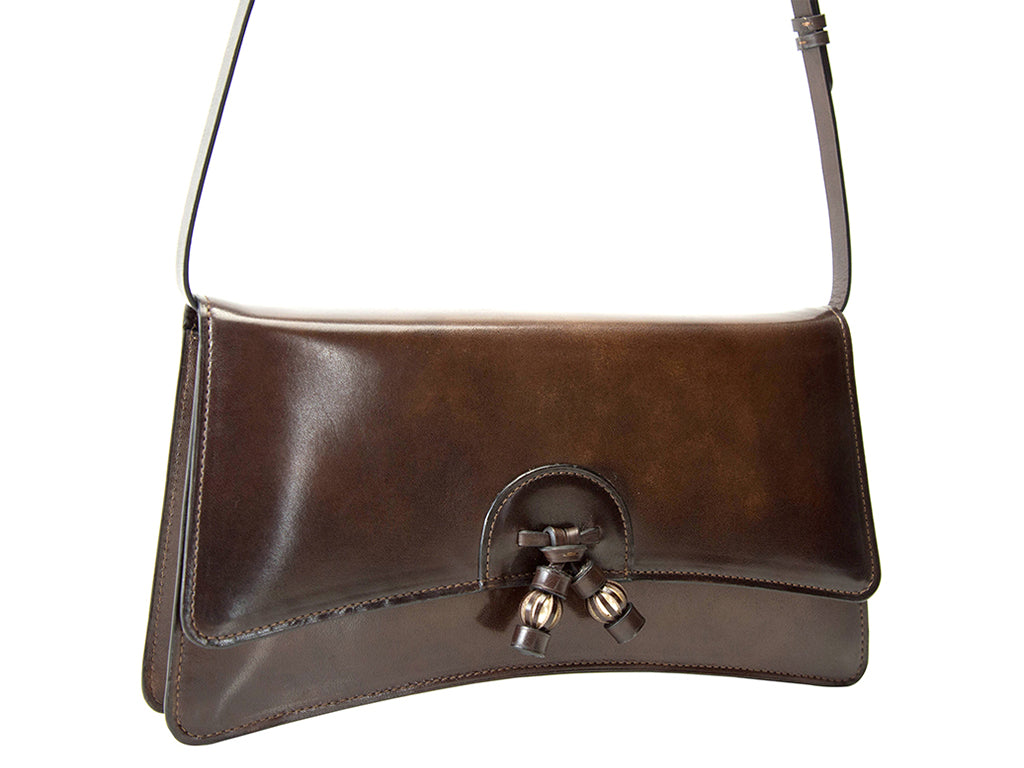 Linh handbag in a rich hand painted chocolate patina