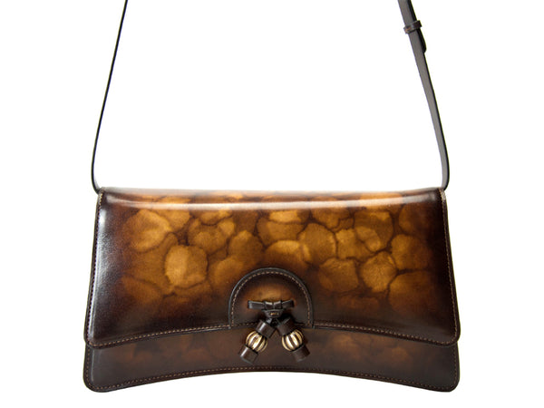 Linh handbag hand painted in a rich brown marble patina