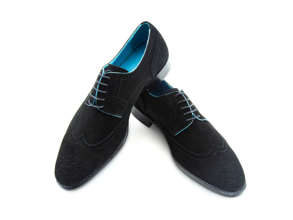 Wang Tai Derby wing tip shoes in Italian black suede