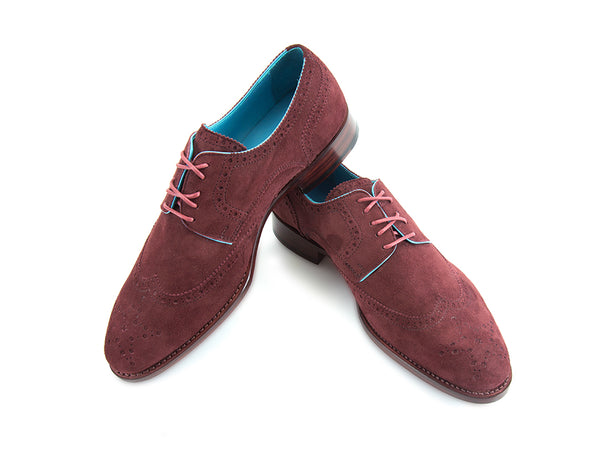 Wang Tai Derby wing tip shoes in Italian Burgundy suede