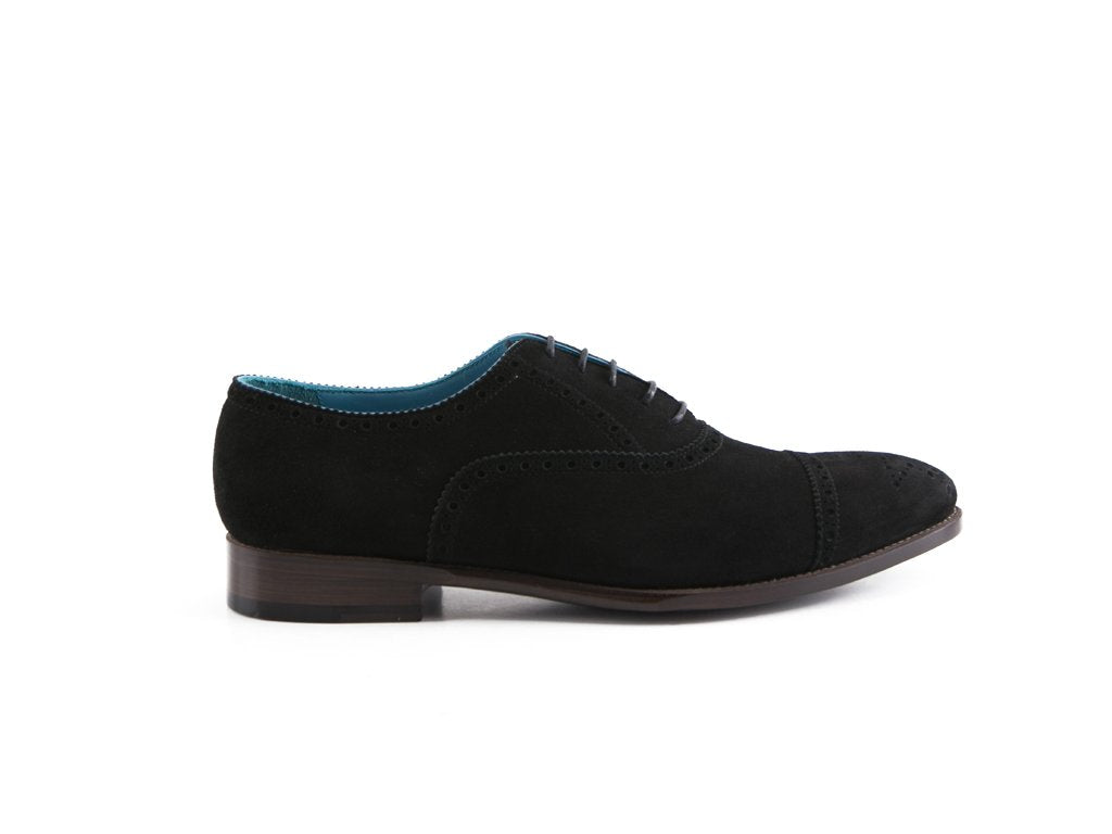The Citizen half brogue leather shoes in black Italian suede