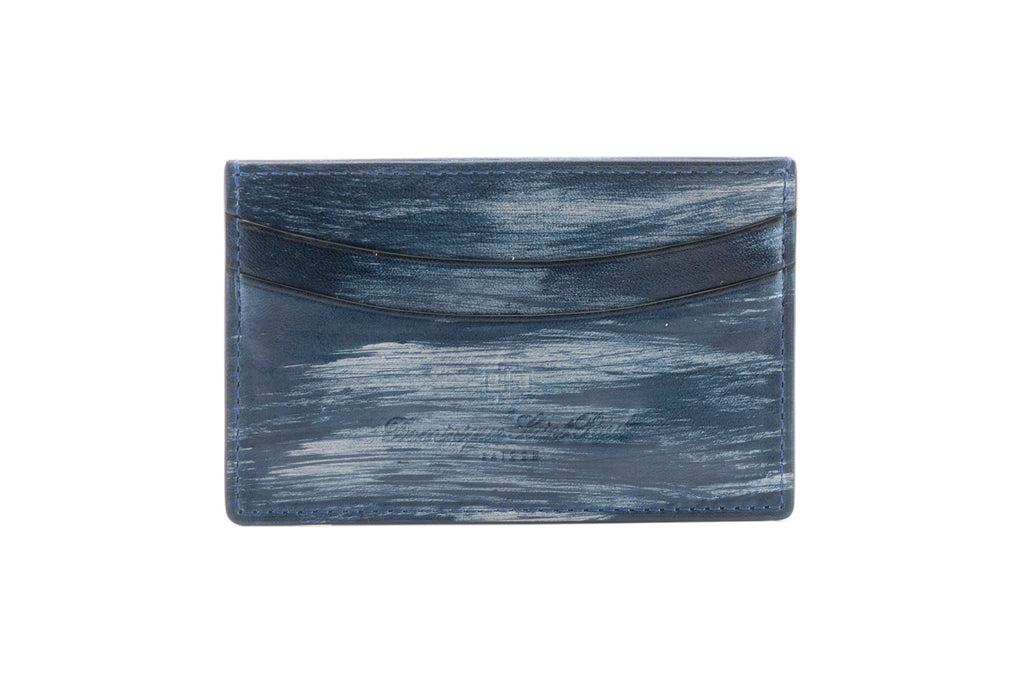 leather evening wallet in hand painted patina sea storm