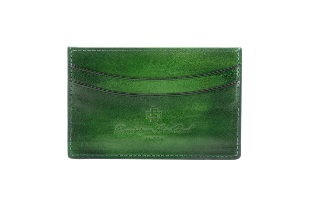 leather evening wallet in hand painted patina green colour