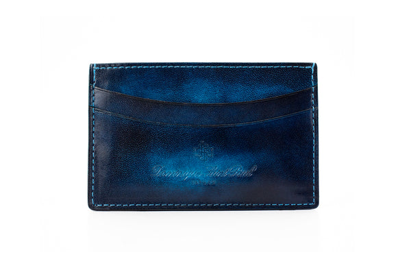 leather wallet hand painted patina in midnight blue washed