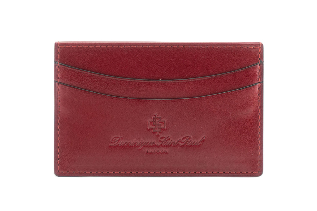 leather evening wallet in dark red hand painted patina