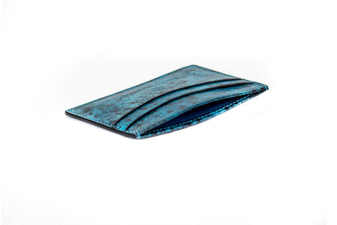leather wallet with hand painted patina in vintage turquoise