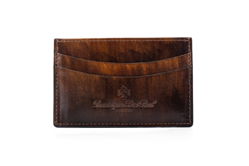 leather wallet with hand painted patina in wood effect