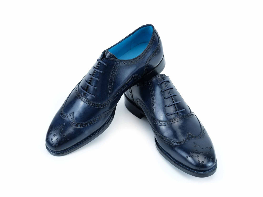 The Countryman full brogue shoes midnight blue patina
