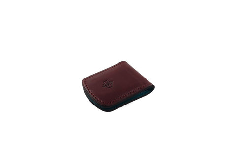 Leather magnetic money clip hand painted patina in burgundy