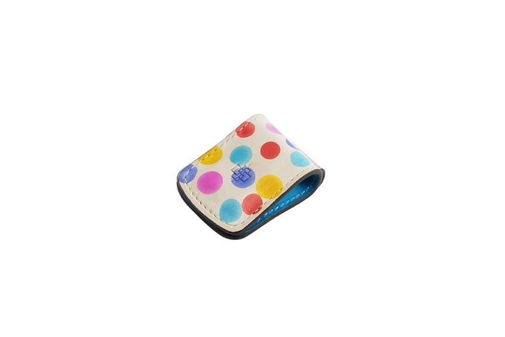 Money clip hand painted patina leather in dotty colours