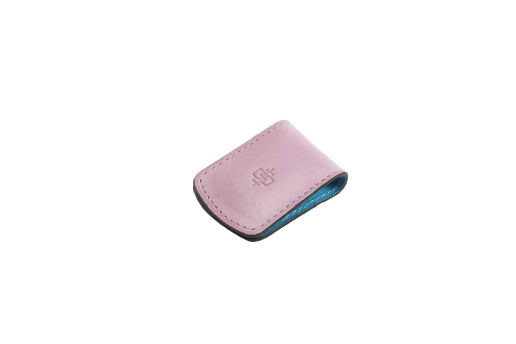 Leather magnetic money clip hand painted patina in pale pink patina