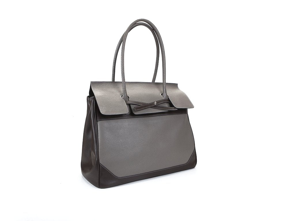 Lara Italian leather day bag for men and women in grey