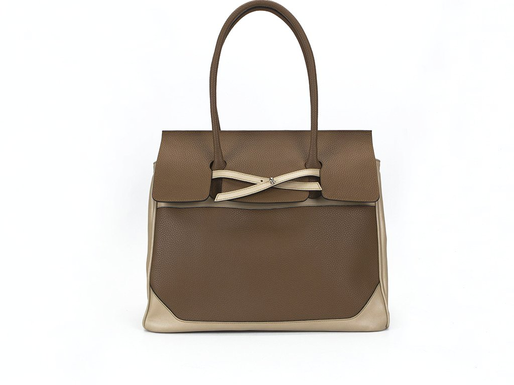 Lara day bag in milk chocolate and cream Italian leather