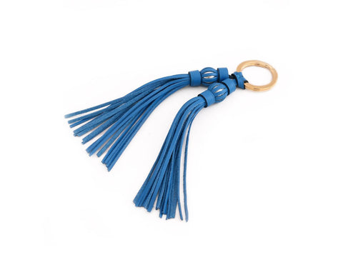 Saigon tassel pearl gold key ring with blue pebble grain leather