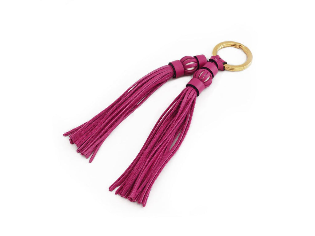 Saigon tassel pearl gold key ring, fuxia leather tassels