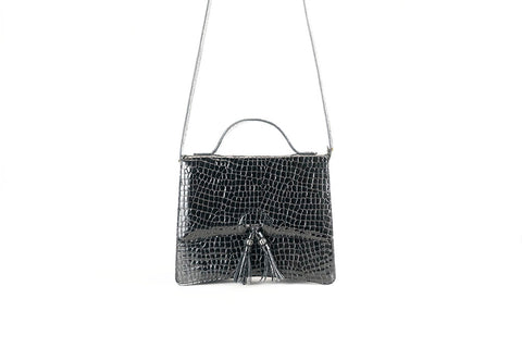 Bertha handbag in Italian patent leather crocodile print