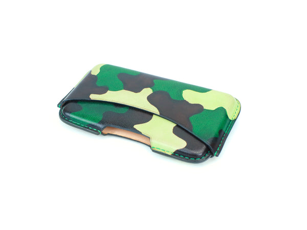 Classic business card holder hand painted camo patina