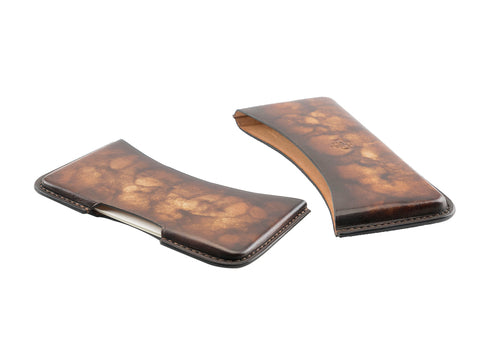 leather business card holder patina brown marble