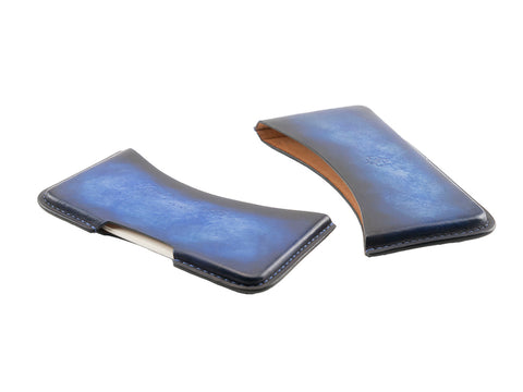 leather business card holder patina cobalt dark blue