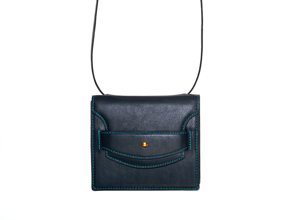 Doris handbag in hand painted Italian leather black