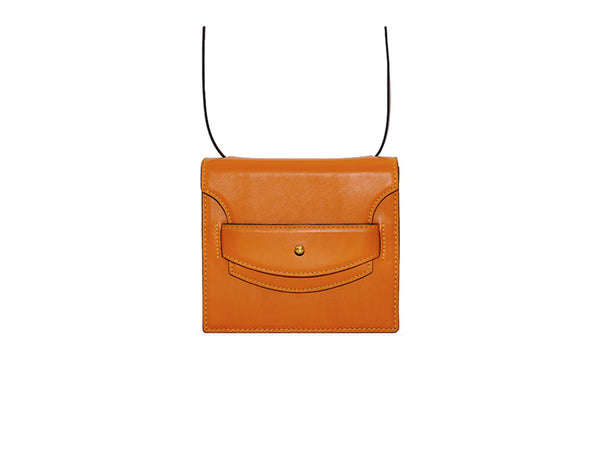 Doris handbag in hand painted Italian leather, orange patina