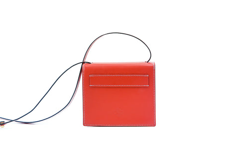 Doris handbag in hand painted leather, red patina
