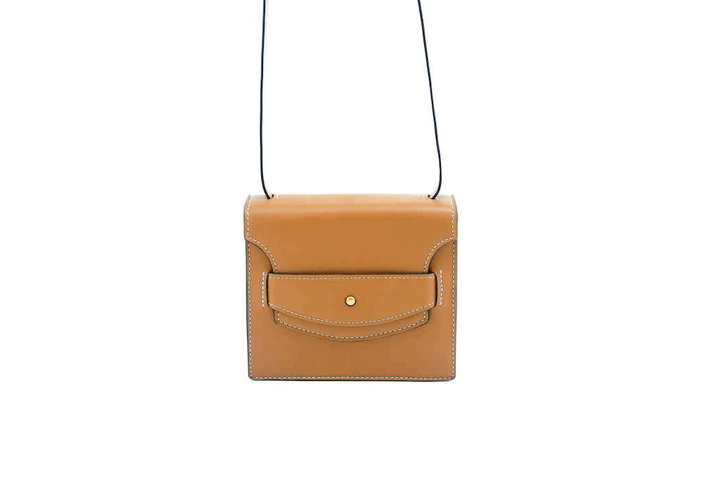 Doris handbag in hand painted leather, British tan patina