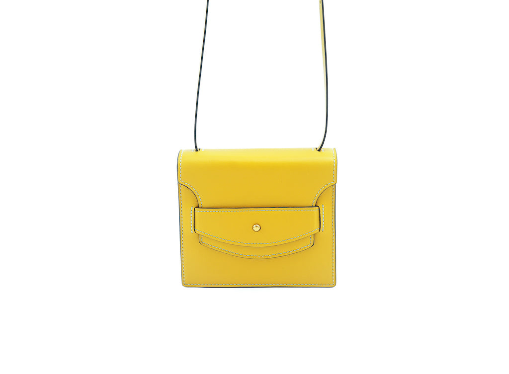 Doris handbag in hand painted leather, yellow patina
