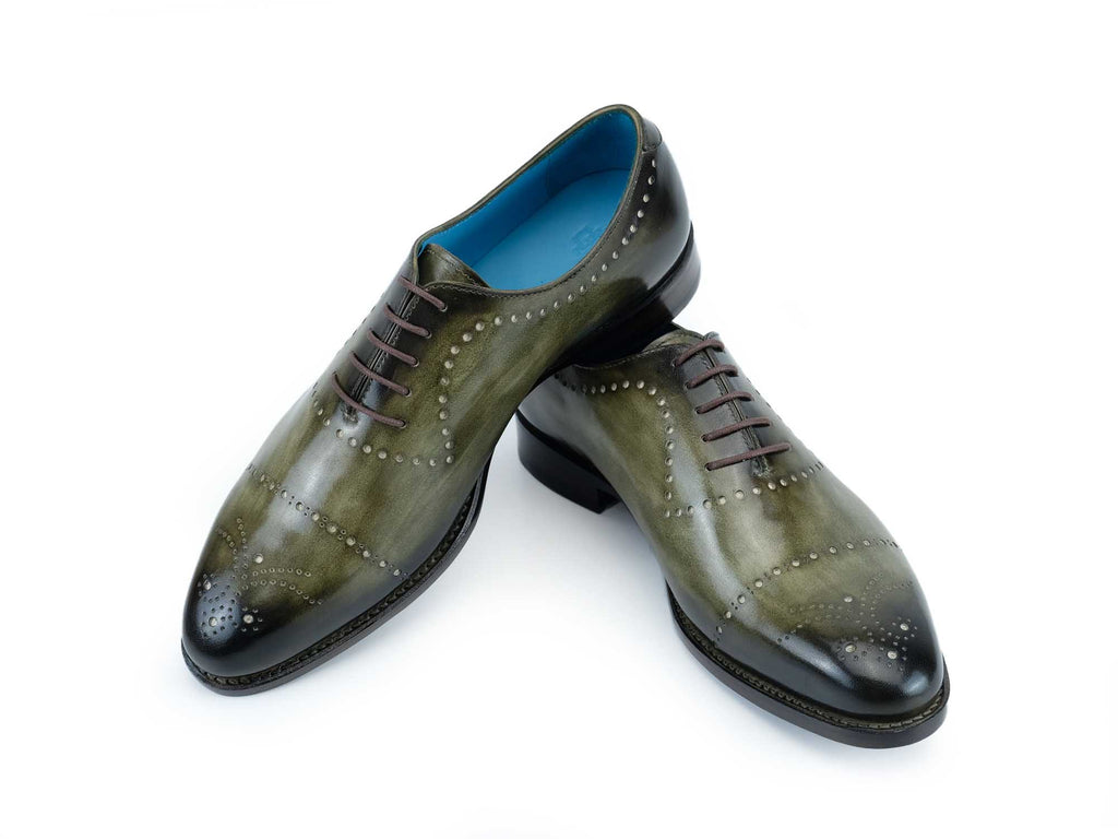 Edouard whole cut shoes in hand painted moss green patina