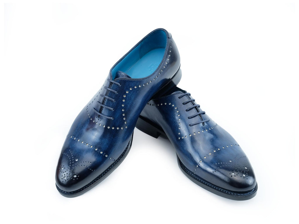Edourad whole cut shoes hand painted patina in royal blue