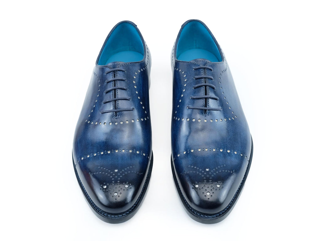 Edouard whole cut shoes in hand painted royal blue patina
