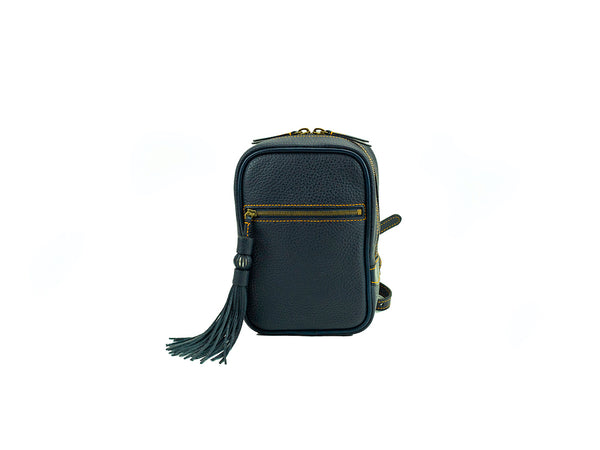 Ellie Italian leather mini backpack in black