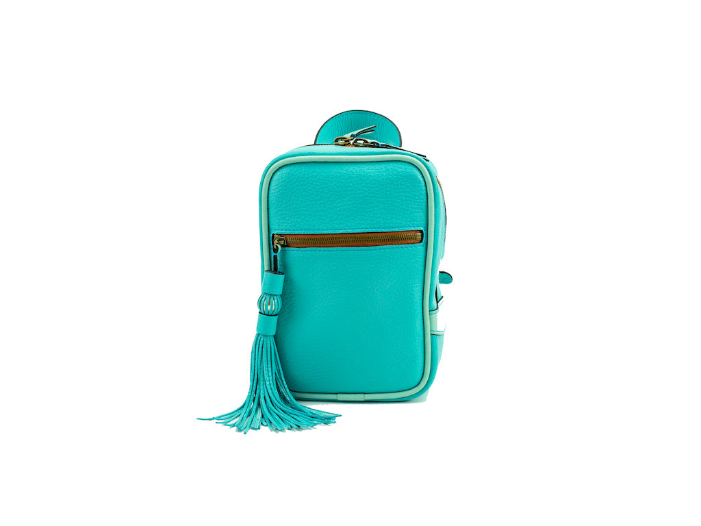 Ellie leather mini backpack in jade green