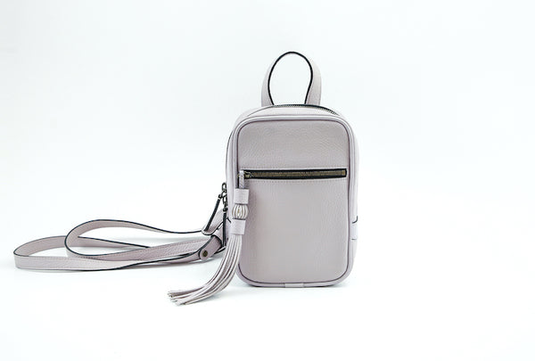 Ellie leather mini backpack in soft grey
