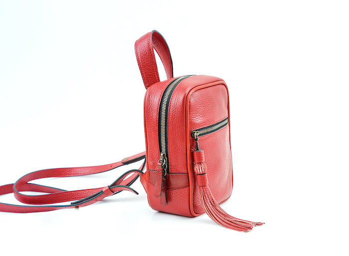 Ellie leather mini backpack in chilli red