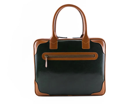 Filippini bag in dark green and tan patina hand painted