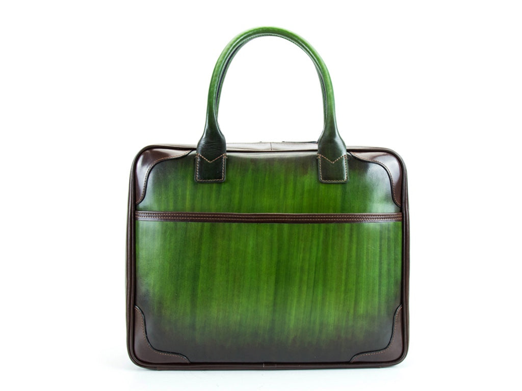 Filippini bag green colour hand painted Italian leather
