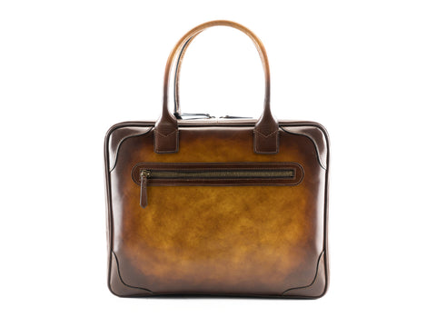 Filippini bag in havana and brown patina hand painted