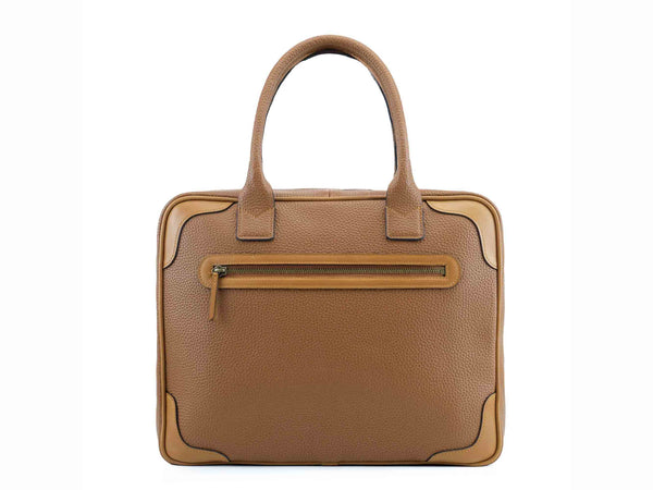 Filippini bag tan pebble grain Italian leather