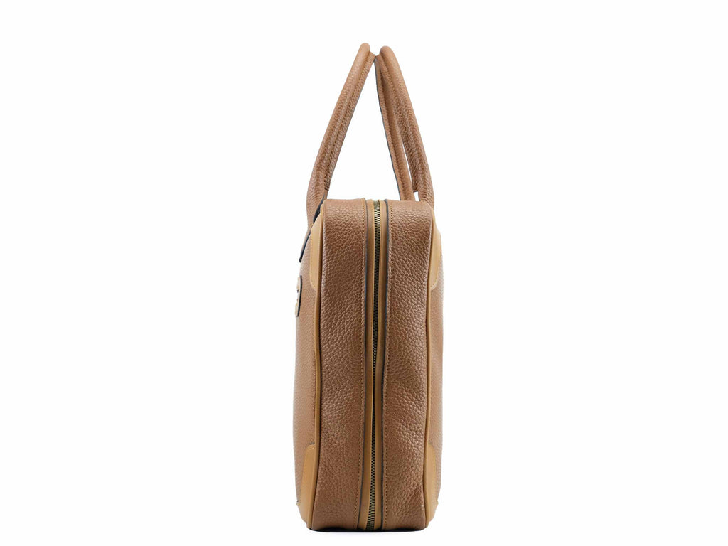 Filippini bag tan colour pebble grain Italian leather