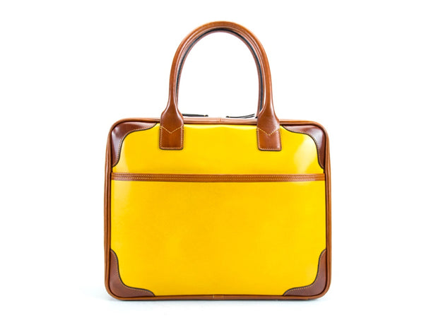 Filippini bag yellow colour hand painted Italian leather