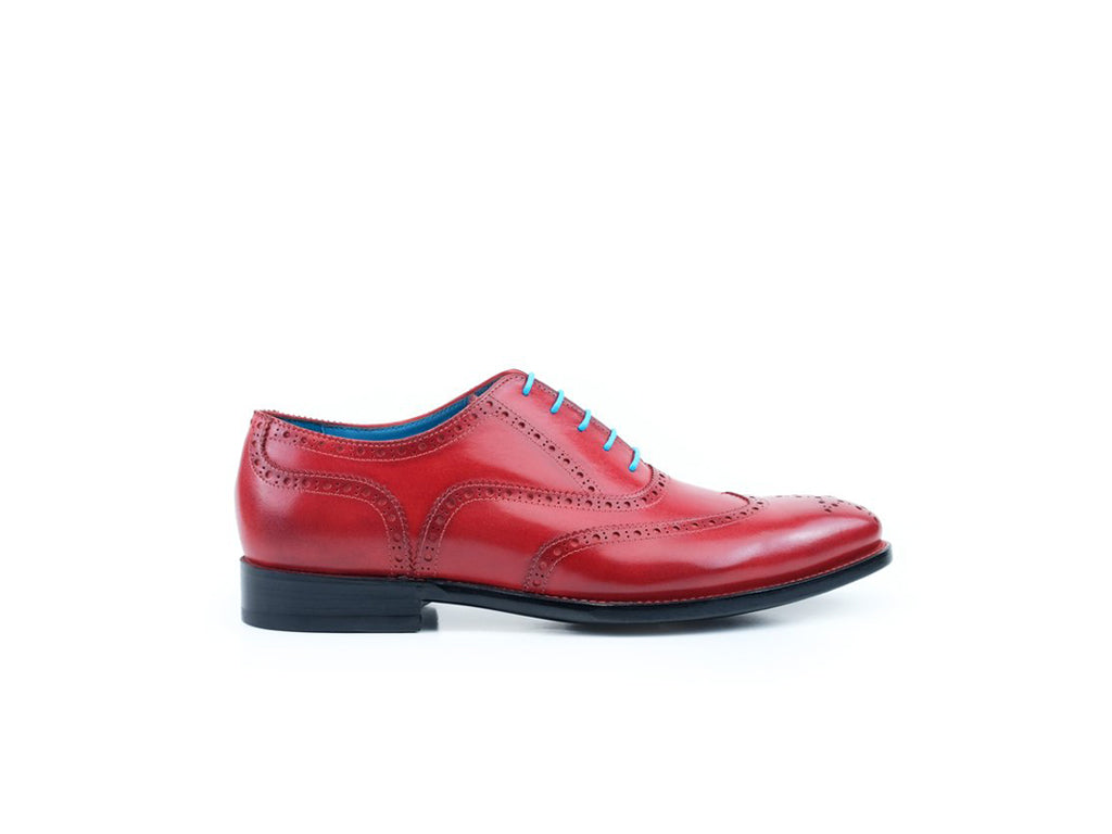 The Countryman full brogue dress shoes in bright red rosso vivo patina