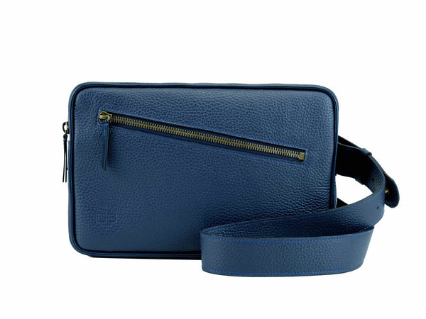 Garcon blue Italian pebble grain leather cross body bag