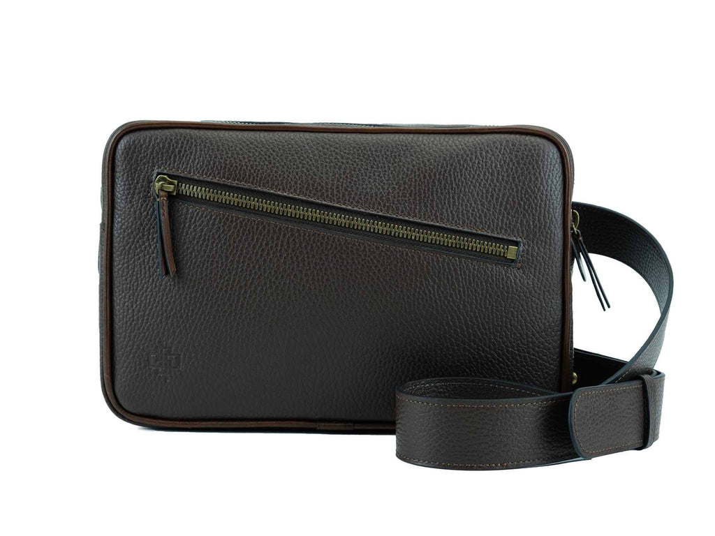 Garcon brown Italian pebble grain leather cross body bag