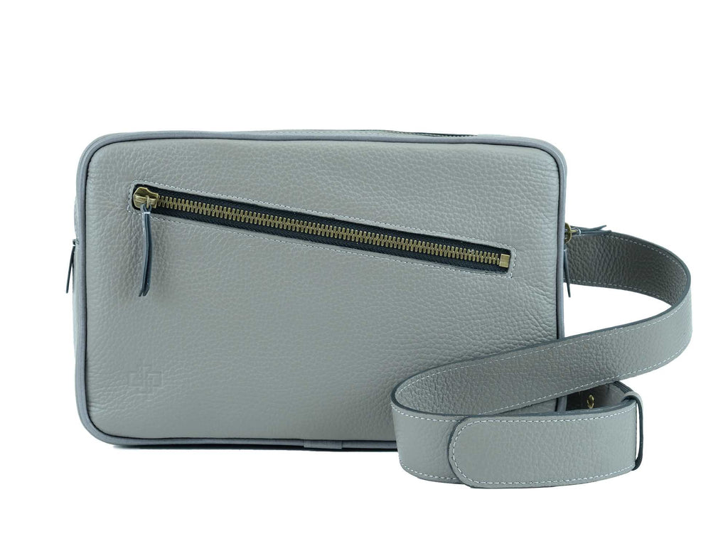 Garcon grey Italian pebble grain leather cross body bag