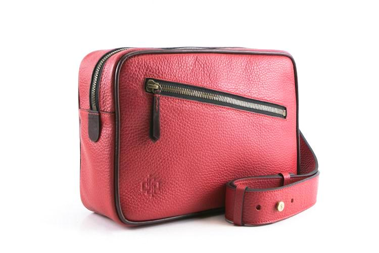 Garcon fired red cross body bag Italian pebble grain leather