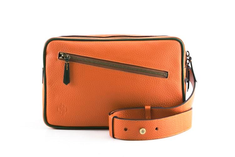 Garcon orange cross body bag in Italian pebble grain leather